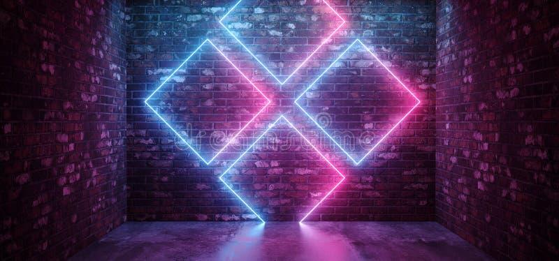 科学幻想小说未来派减速火箭的现代典雅的抽象长方形横渡了霓虹在难看的东西砖墙俱乐部的形状发光的紫色蓝色桃红色 库存例证