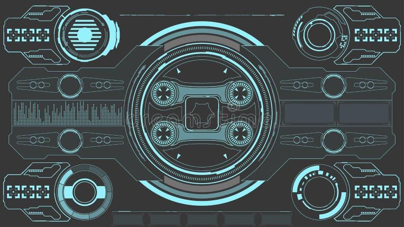 科学幻想小说未来派发光的HUD显示 Vitrual现实技术屏幕 向量例证