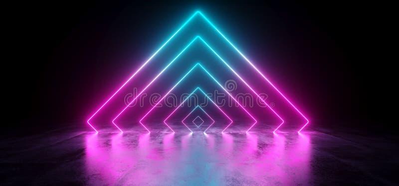 科学幻想小说未来派抽象梯度蓝色紫色桃红色霓虹Glowin 向量例证