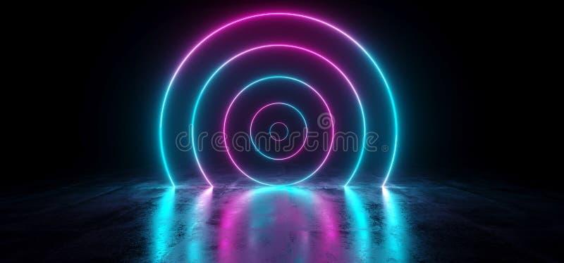 科学幻想小说未来派抽象梯度蓝色紫色桃红色霓虹Glowin 皇族释放例证