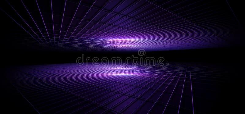 科学幻想小说未来派现代典雅的黑暗的空的霓虹发光的紫色蓝色桃红色梯度外籍人金属反射性滤网室俱乐部舞蹈 库存例证