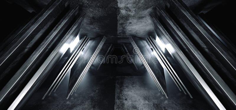 科学幻想小说未来派真正太空飞船摘要三角塑造了光滑的金属混凝土难看的东西黑暗的空的白炽电影走廊 向量例证