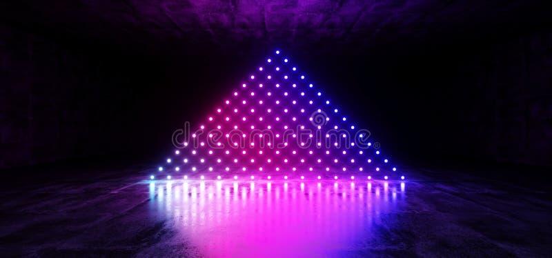 科学幻想小说未来派网络现代外籍人舞蹈减速火箭的俱乐部阶段霓虹激光小点三角形状的发光的紫色桃红色蓝色梯度  皇族释放例证
