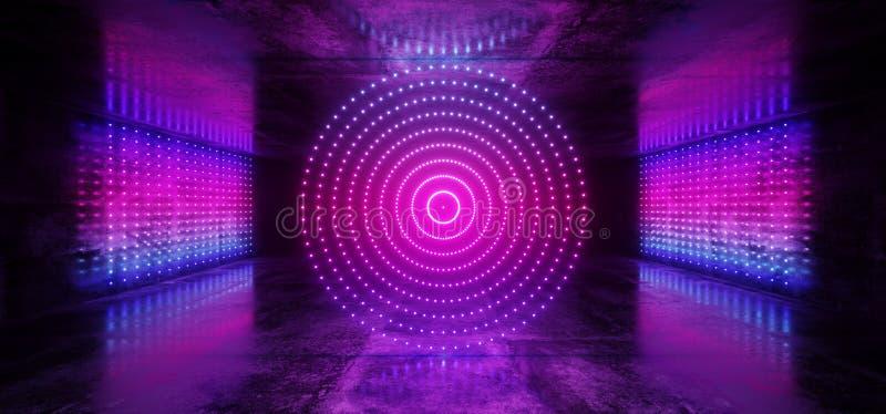 科学幻想小说未来派网络现代外籍人舞蹈减速火箭的俱乐部阶段霓虹激光小点圈子形状的发光的紫色桃红色蓝色梯度  皇族释放例证