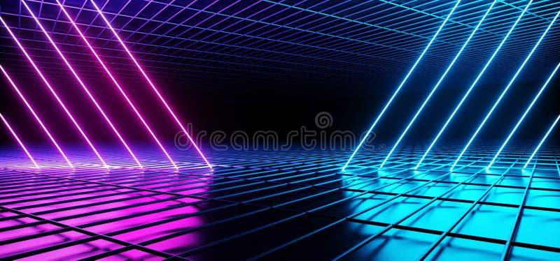 科学幻想小说未来派阶段舞蹈霓虹发光的紫色蓝色桃红色三角塑造了在黑暗的空的金属反射性滤网的被掀动的线 皇族释放例证