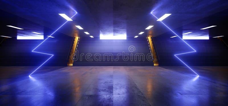 科学幻想小说未来派霓虹灯箭头形状霍尔黑暗的空的地下隧道走廊台阶标志点燃紫色蓝色发光 皇族释放例证