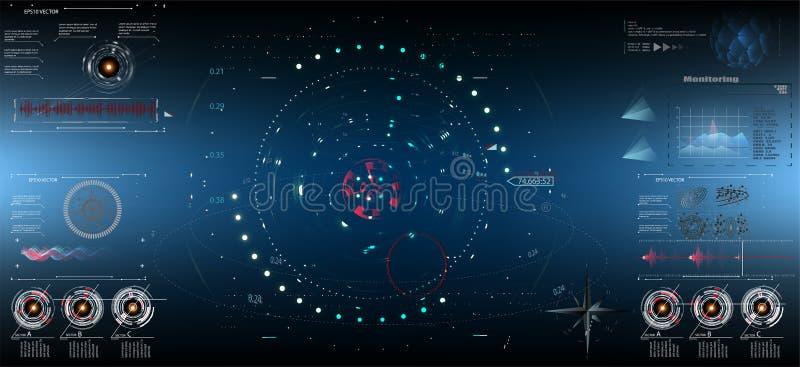 科学幻想小说未来派HUD仪表板显示 Vitrual现实技术屏幕 EPS10 向量例证