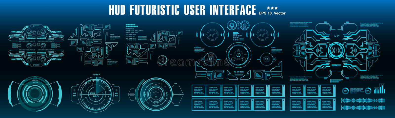 科学幻想小说未来派hud仪表板蓝色显示虚拟现实技术屏幕 库存例证