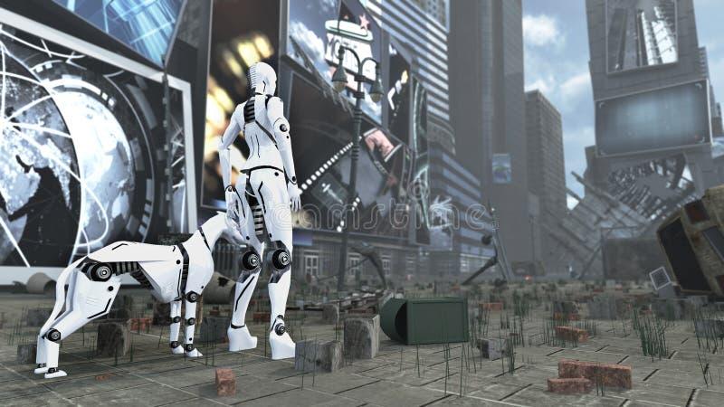 科学幻想小说机器人妇女和靠机械装置维持生命的人狗在启示时代广场纽约曼哈顿 3d翻译 皇族释放例证