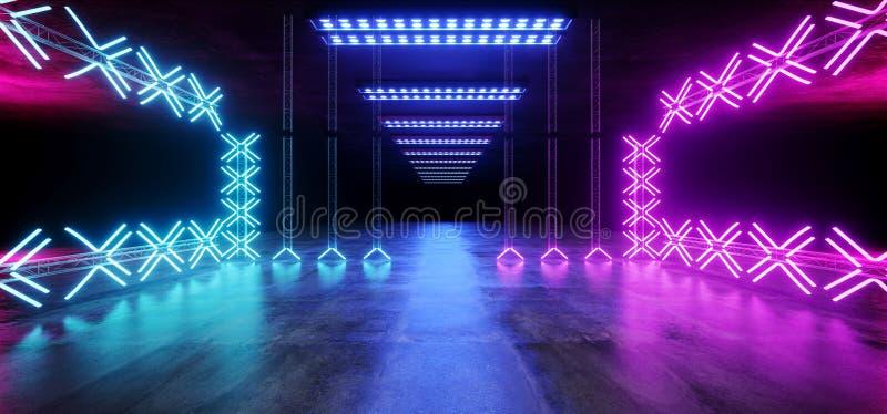 科学幻想小说沥青未来派舞蹈阶段空的金属建筑结构隧道地下展示霓虹发光的激光带领了充满活力 库存例证