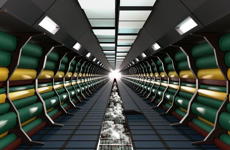 科学幻想小说现代圆筒走廊照亮与霓虹灯 向量例证