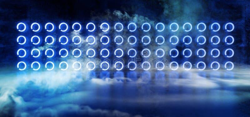 科学幻想小说现代外籍人霓虹发光的蓝色阶段指挥台圈子塑造与烟和雾在黑暗的难看的东西具体反射室 库存例证