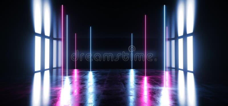 科学幻想小说真正发光的充满活力的霓虹未来派演播室阶段指挥台空的反射性蓝色紫色发光的光难看的东西混凝土 库存例证