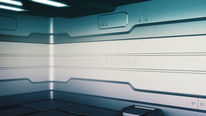 科学幻想小说难看的东西损坏金属走廊背景3d回报 库存例证