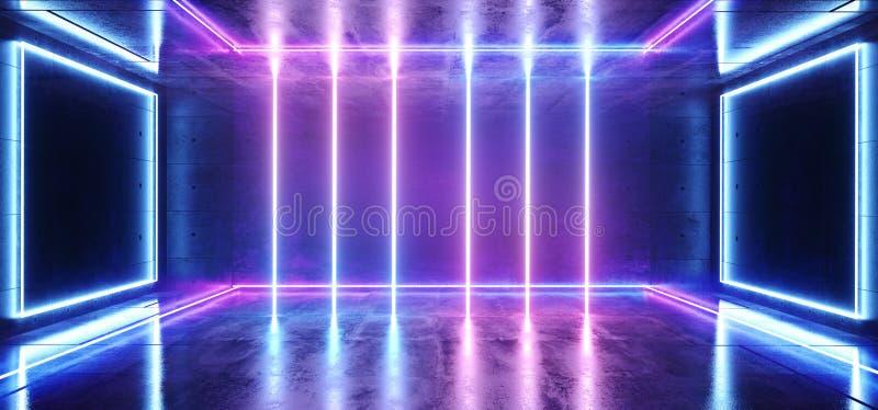 科学幻想小说霓虹未来派紫色蓝色冷的俱乐部阶段室霍尔展示充满活力的虚拟现实激光被带领的光发光的反射 库存例证