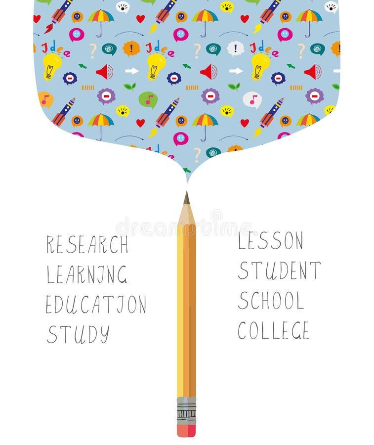 科学或学习bacgkround学校的有铅笔和标志的 皇族释放例证