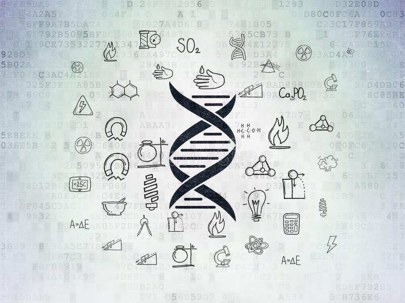 科学概念:在数字资料纸背景的脱氧核糖核酸 向量例证