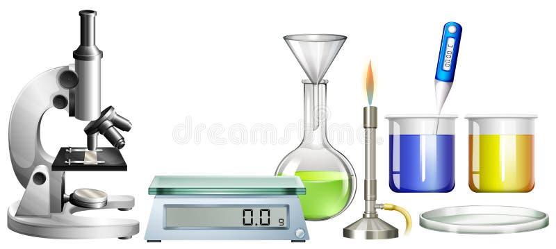 科学烧杯和其他设备 向量例证