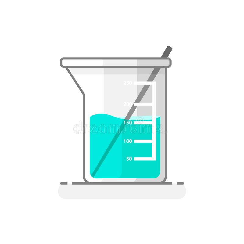 科学烧杯&振动器有化工液体的-实验室玻璃器皿象4 平的设计观念 也corel凹道例证向量 向量例证