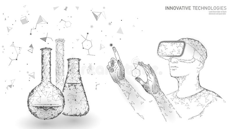科学生物基因修改概念 VR耳机全息照相的投射虚拟现实玻璃 未来派医学 皇族释放例证