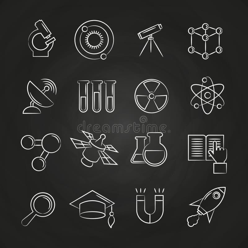 科学线在黑板设置的象 库存例证