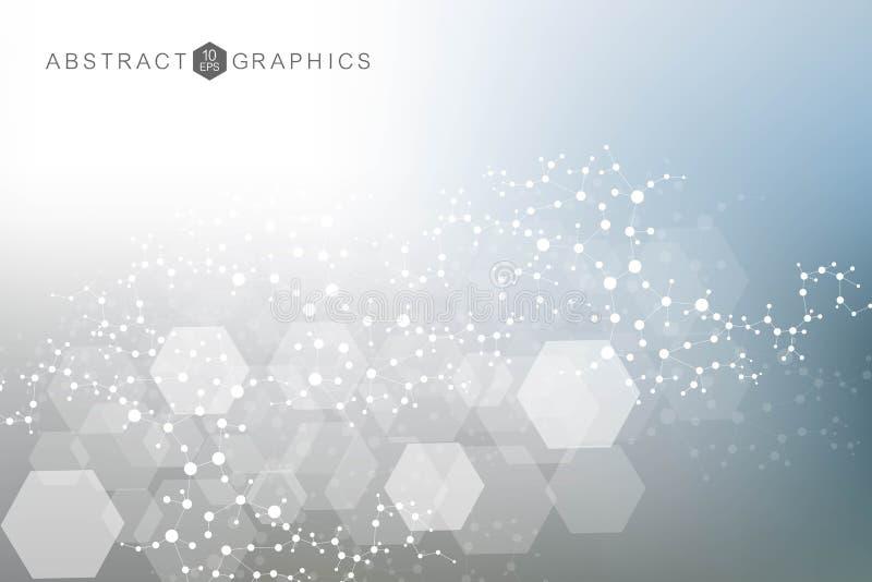 科学网络样式、连接线和小点 全球网络连接传染媒介 库存例证