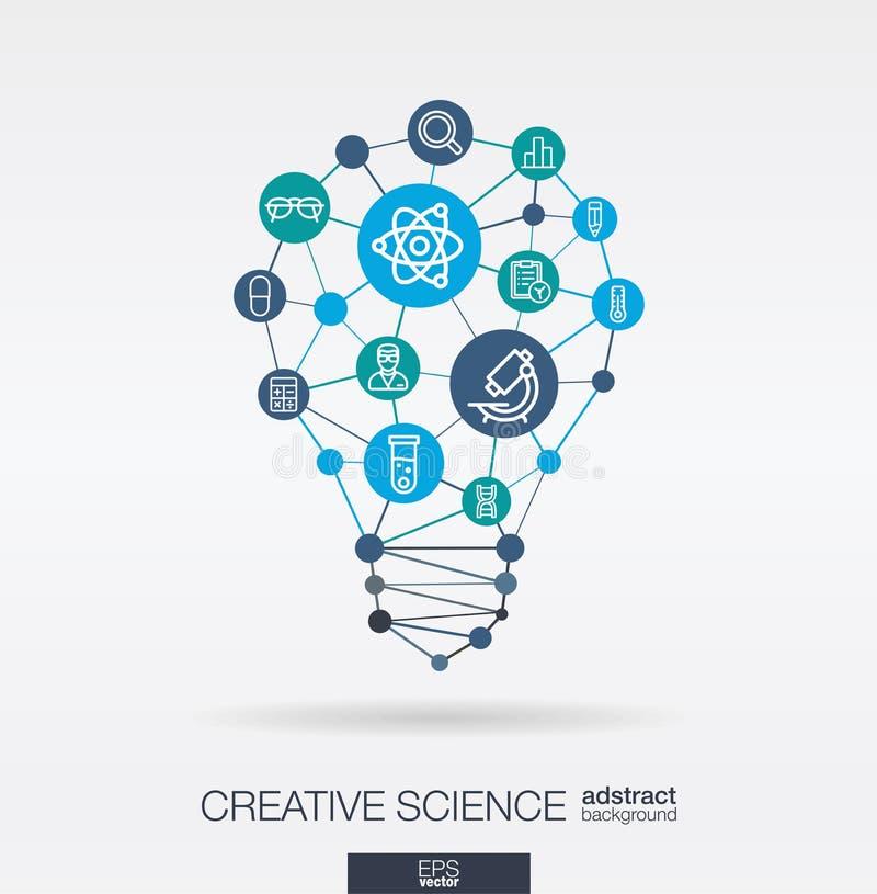 科学联合稀薄的线象 数字式神经网络概念 想法,在电灯泡形状的解答 向量例证