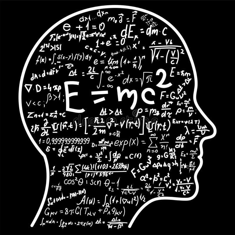 科学认为 头填装的算术和物理惯例概述  能说明题目与科学有关 库存例证