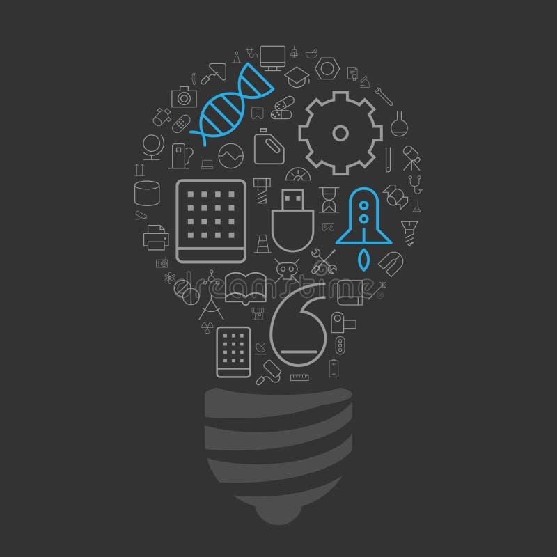 科学,技术和工业的象在电灯泡