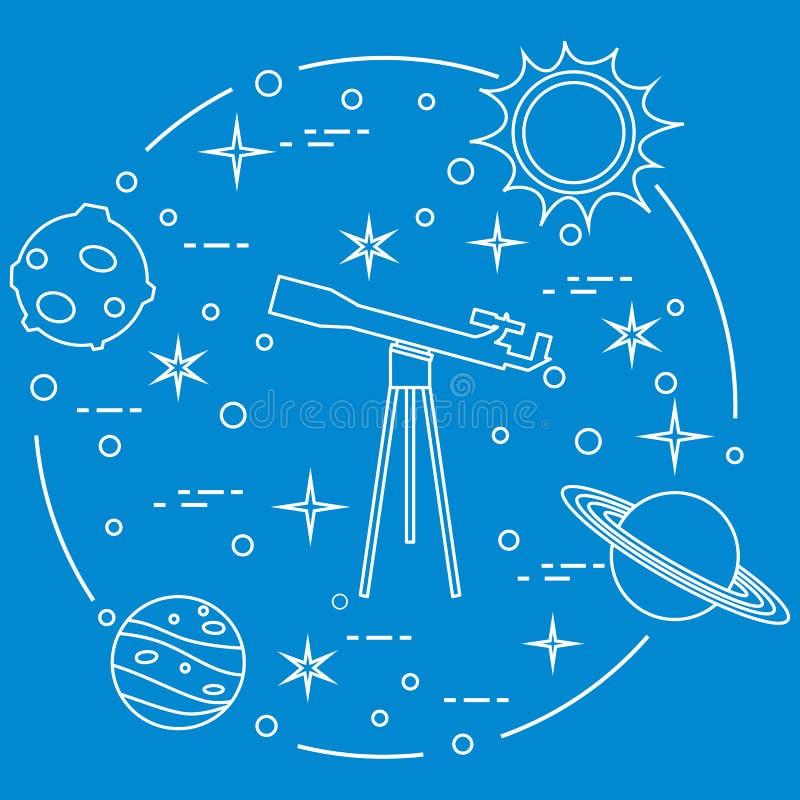 科学:望远镜,太阳,月亮,行星,星 向量例证