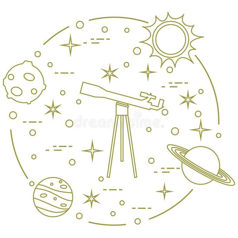 科学:望远镜,太阳,月亮,行星,星 皇族释放例证