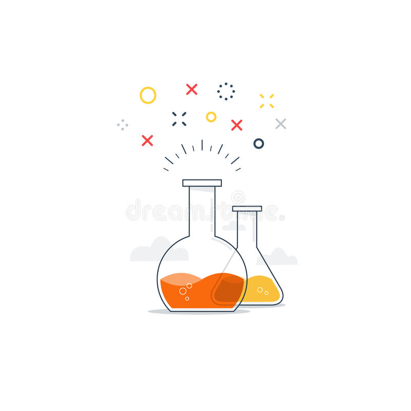 科学类、实验室乐趣实验象和商标 库存例证