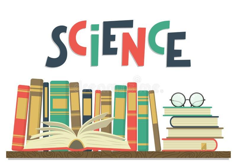 科学 在架子的书与开放书、玻璃和字法 皇族释放例证