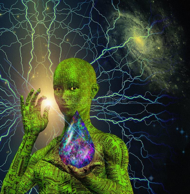 科学幻想小说场面机器人 向量例证