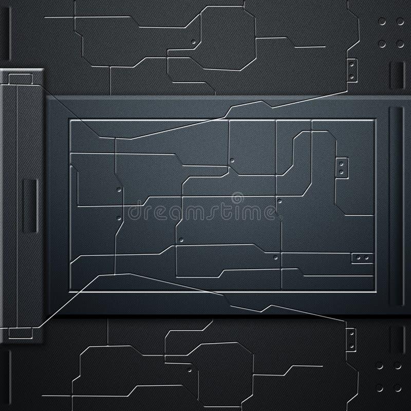 科学幻想小说墙壁 碳纤维墙壁和电路 金属背景 皇族释放例证