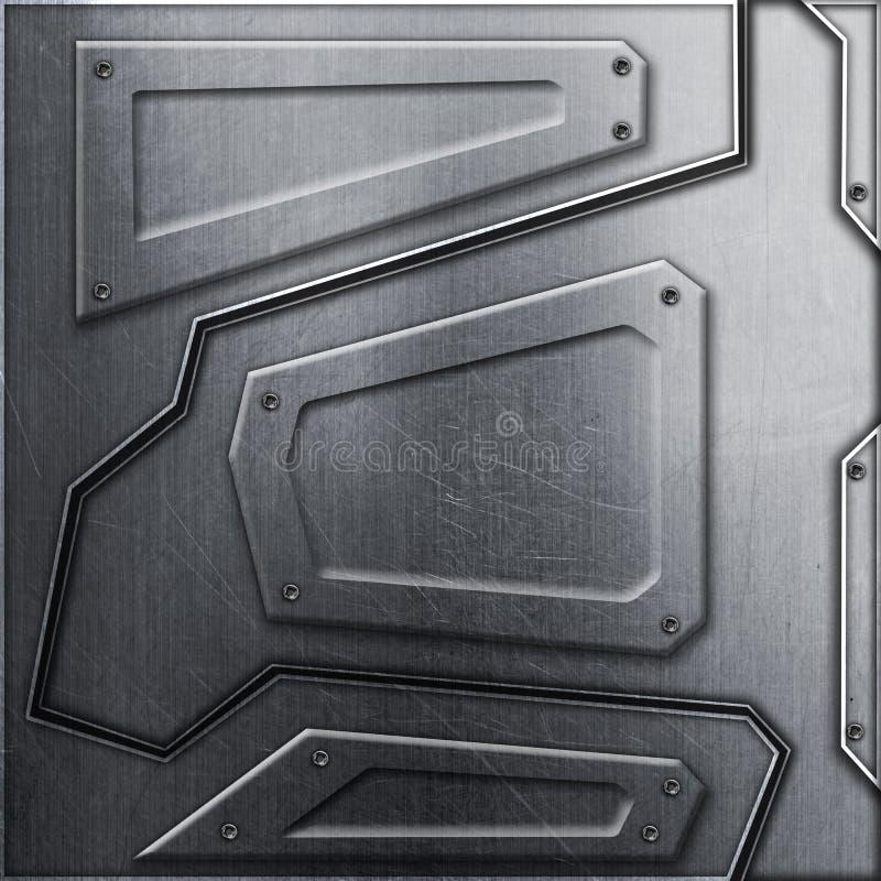 科学幻想小说墙壁 金属背景和纹理3d例证 向量例证