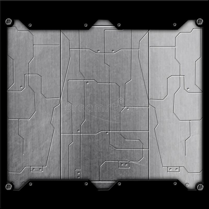 科学幻想小说墙壁 镀铬物金属墙壁和电路 金属背景 库存例证
