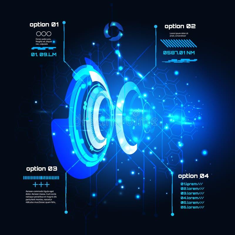 科学幻想小说未来派用户界面, infographics, HUD,技术传染媒介背景 皇族释放例证