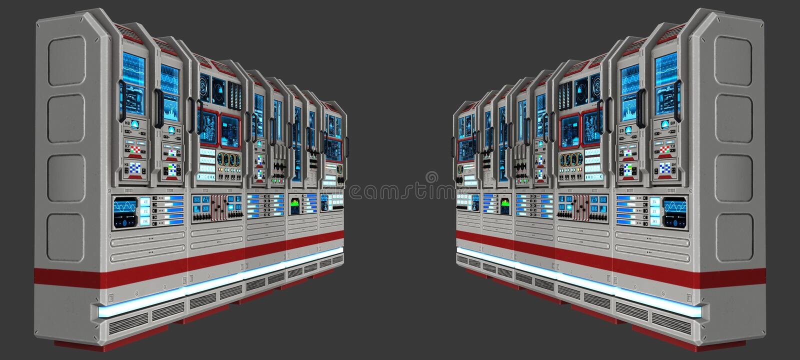 科学幻想小说科幻计算机实验室例证 库存例证