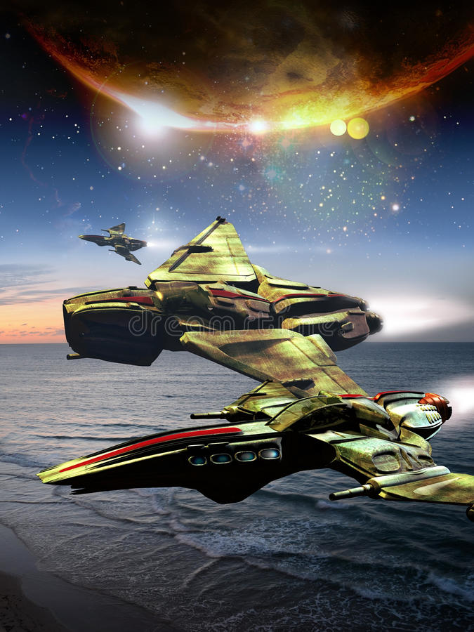 科学幻想小说航天器 向量例证