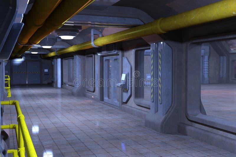 科学幻想小说走廊室内设计 皇族释放例证