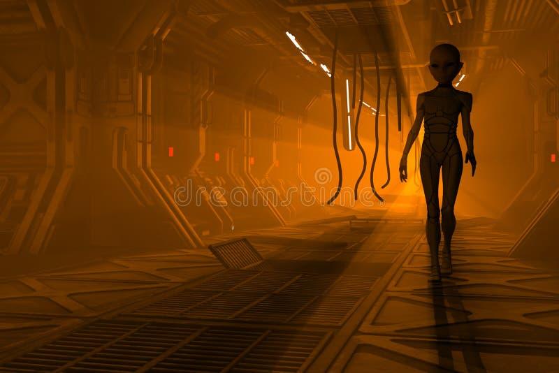 科学幻想小说走廊的外籍人 向量例证