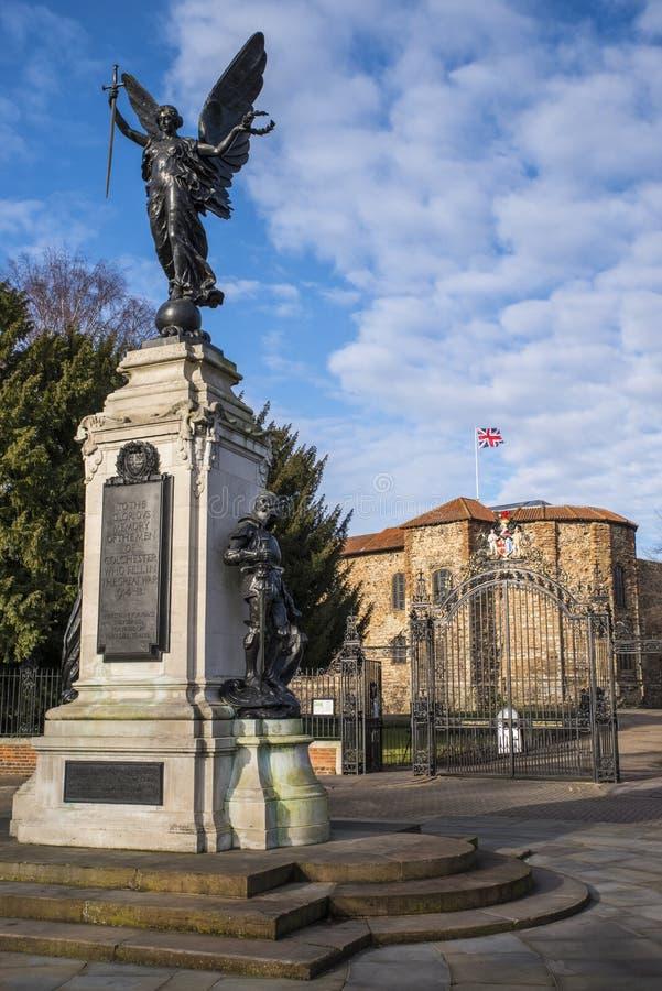 科尔切斯特战争纪念建筑和科尔切斯特城堡 免版税库存图片
