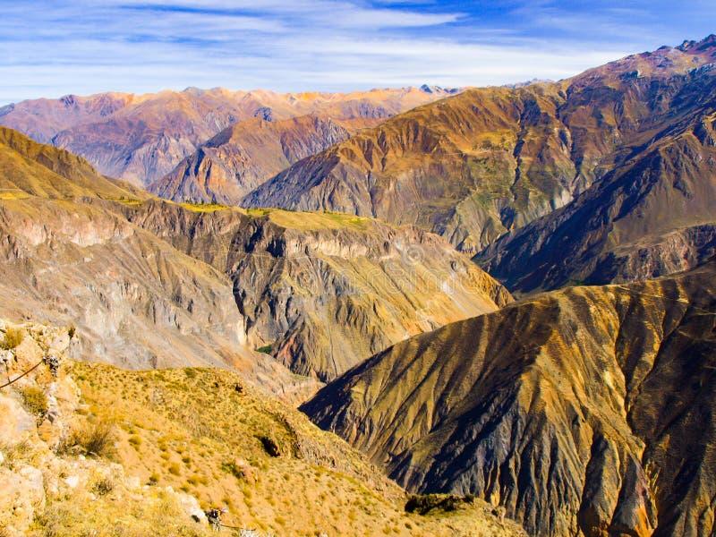 科尔卡峡谷-世界,秘鲁,南美洲的最深的峡谷 库存图片