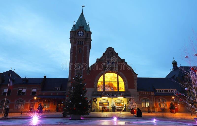 科尔马火车站在阿尔萨斯,法国 科尔马是阿尔萨斯地区的第三大公社和为它使有名望 免版税库存图片
