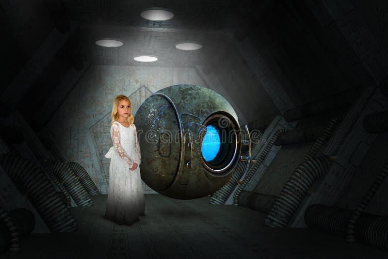 科幻幻想,太空船,女孩,机器人 免版税图库摄影