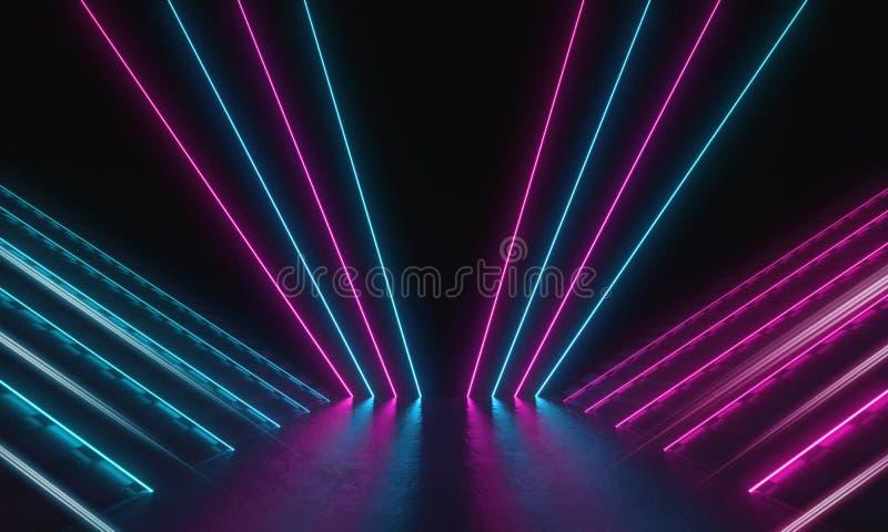 科幻未来主义霓虹灯激光发光现代空间 3D渲染图 向量例证