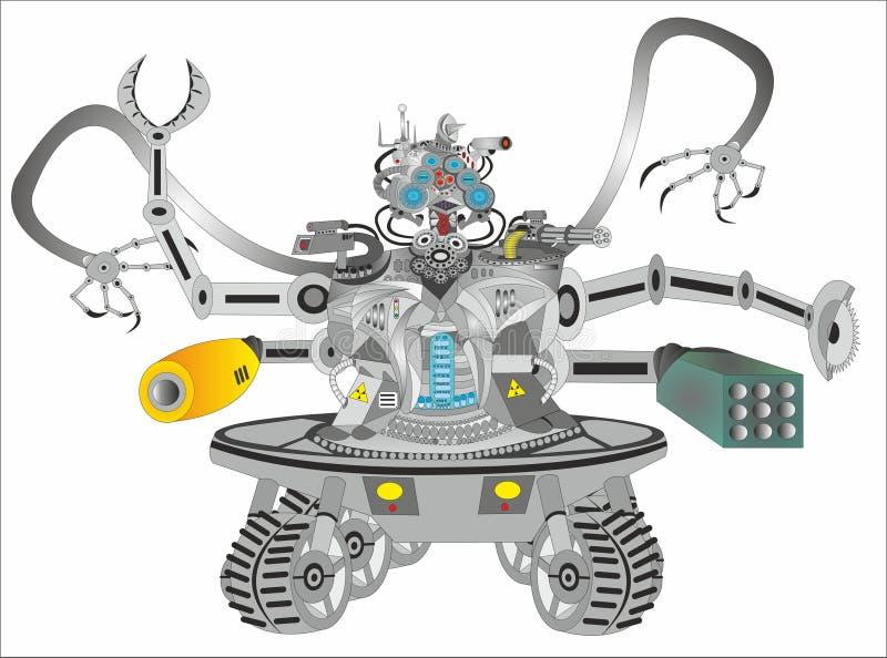 科幻靠机械装置维持生命的人机器人 库存例证