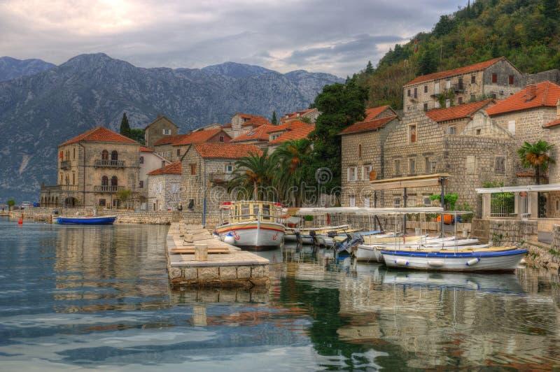科托尔海湾和Perast在黑山 免版税库存照片