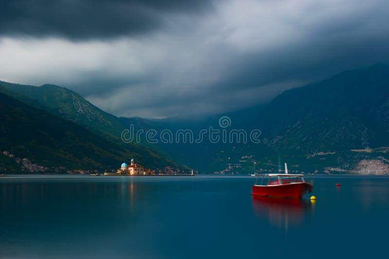 科托尔湾在Perast,黑山 库存照片